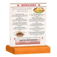 Menu Solutions WBCL-C 8 1/2 inch x 11 inch Clear Acrylic Table Tent with Solid Mandarin Wood Base