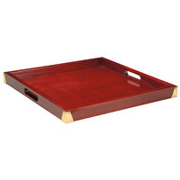 GET LUX-2121-M 21 inch x 21 inch Mahogany Hardwood Room Service Tray