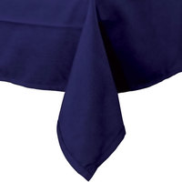 72 inch x 120 inch Navy Blue Hemmed Polyspun Cloth Table Cover