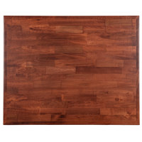 Lancaster Table & Seating 24 inch x 30 inch Recycled Wood Butcher Block Table Top with Mahogany Finish