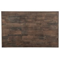 Lancaster Table & Seating 30 inch x 48 inch Recycled Wood Butcher Block Table Top with Espresso Finish