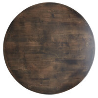 Lancaster Table & Seating 36 inch Round Recycled Wood Butcher Block Table Top with Espresso Finish
