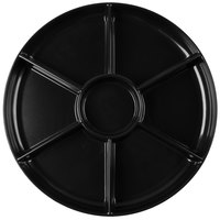 Fineline D16777.BK Innovative Caterware 16 inch Round Black Plastic 7-Compartment Tray