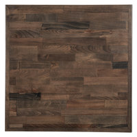 Lancaster Table & Seating 24 inch x 24 inch Recycled Wood Butcher Block Table Top with Espresso Finish