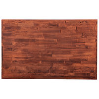 Lancaster Table & Seating 30 inch x 48 inch Recycled Wood Butcher Block Table Top with Mahogany Finish