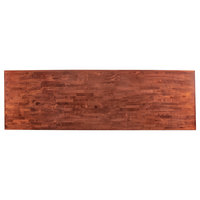 Lancaster Table & Seating 30 inch x 96 inch Recycled Wood Butcher Block Table Top with Mahogany Finish