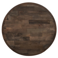 Lancaster Table & Seating 24 inch Round Recycled Wood Butcher Block Table Top with Espresso Finish