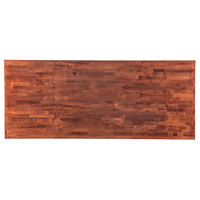 Lancaster Table & Seating 30 inch x 72 inch Recycled Wood Butcher Block Table Top with Mahogany Finish