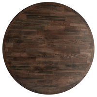 Lancaster Table & Seating 30 inch Round Recycled Wood Butcher Block Table Top with Espresso Finish