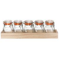 Tablecraft HFLGLASS5 Taster Flight Set - 5 Glass Jars with Natural Wood Crate