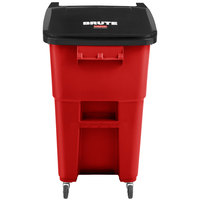 Rubbermaid 2018380 Brute 50 Gallon Red Rollout Trash Can with Casters