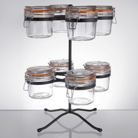 Tablecraft 8 Compartment Condiment Jar Stand with 11.5 oz. Glass Jars