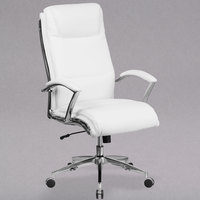 Flash Furniture GO-2192-WH-GG High-Back White Leather Executive Swivel Office Chair with Chrome Base and Arms