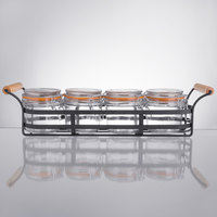 Tablecraft Condiment Caddy with 4 11.5 oz. Glass Jars