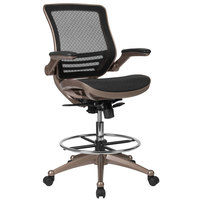 Flash Furniture BL-LB-8801X-D-GG Mid-Back Transparent Black Mesh Drafting Chair with Melrose Gold Frame and Flip Up Arms