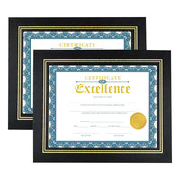 Universal UNV76838 8 1/2 inch x 11 inch Black Leatherette Document Frame   - 2/Pack