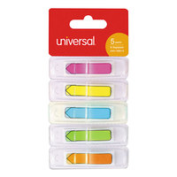 Universal UNV99015 1/2 inch x 1 3/4 inch 5 Assorted Color Deluxe Pop-Up Page Flags   - 175/Pack