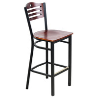 Lancaster Table & Seating Mahogany Finish Bar Height Bistro Chair