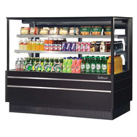 Turbo Air TCGB-72UF-CO-B-N Black 72 inch Flat Glass Refrigerated and Dry Two Section Bakery Display Case