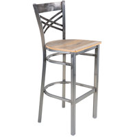 Lancaster Table & Seating Clear Coat Steel Cross Back Bar Height Chair with Driftwood Seat