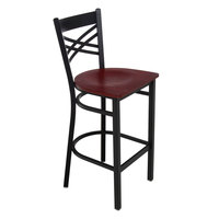 Lancaster Table & Seating Cross Back Black Bar Height Chair with Mahogany Seat