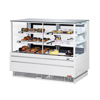 Turbo Air TCGB-60UF-CO-W-N White 60 inch Flat Glass Dual Dry / Refrigerated Bakery Display Case