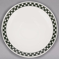 Homer Laughlin 2821636 Black Checkers 6 inch Creamy White / Off White China Boston Saucer - 36/Case