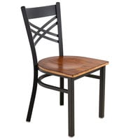Lancaster Table & Seating Black Cross Back Chair with Antique Walnut Seat