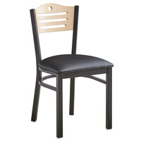 Lancaster Table & Seating Natural Finish Bistro Dining Chair with 1 1/2 inch Padded Seat