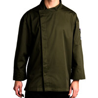 Chef Revival J113OG-S Knife and Steel Size 36 (S) Olive Green Customizable Chef Jacket with 3/4 Sleeves and Hidden Snap Buttons - Poly-Cotton