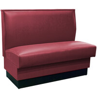 American Tables & Seating QAS-42 Portside Raspberry Plain Single Back Booth 42 inch High - Fully Upholstered Quick Ship