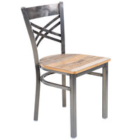 Lancaster Table & Seating Clear Coat Steel Cross Back Chair with Driftwood Seat