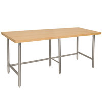 Advance Tabco TH2G-248 Wood Top Work Table with Galvanized Base - 24 inch x 96 inch