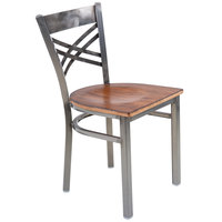 Lancaster Table & Seating Clear Coat Steel Cross Back Chair with Antique Walnut Seat