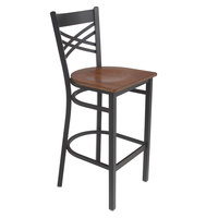 Lancaster Table & Seating Black Cross Back Bar Height Chair with Antique Walnut Seat