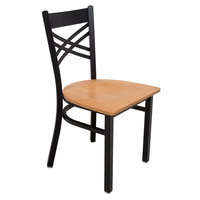 Lancaster Table & Seating Cross Back Black Chair with Natural Seat
