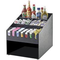 Cal-Mil 2044 Classic Black Condiment Organizer with Dual Napkin Dispenser Slot - 16 inch x 19 1/4 inch x 16 3/4 inch