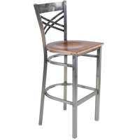 Lancaster Table & Seating Clear Coat Steel Cross Back Bar Height Chair with Antique Walnut Seat