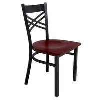 Lancaster Table & Seating Cross Back Black Chair with Mahogany Seat