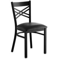 Lancaster Table & Seating Black Cross Back Chair with 2 1/2 inch Padded Seat