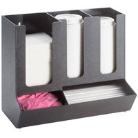 Cal-Mil 1013 Classic Black 3-Section Countertop Cup and Lid Organizer with Straw and Condiment Compartments