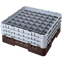 Cambro 49S638167 Brown Camrack Customizable 49 Compartment 6 7/8 inch Glass Rack