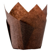 Hoffmaster 611104 2 1/4 inch x 4 inch Chocolate Brown Tulip Baking Cups - 250/Pack