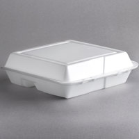 Dart 95HT3R 9 1/2 inch x 9 inch x 3 inch White Foam 3 Compartment Foam Hinged Lid Container - 100/Pack