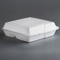 Dart Solo 95HT3R 9 1/2 inch x 9 inch x 3 inch White Foam 3 Compartment Foam Hinged Lid Container 100 / Pack