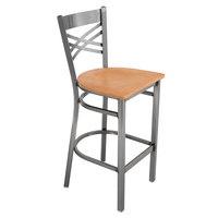 Lancaster Table & Seating Cross Back Clear Coat Steel Bar Height Chair with Natural Seat