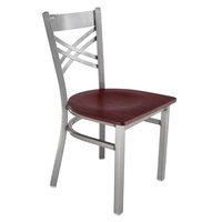Lancaster Table & Seating Cross Back Clear Coat Steel Chair with Mahogany Seat