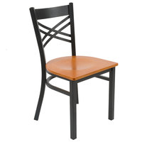 Lancaster Table & Seating Black Cross Back Chair with Cherry Wood Seat