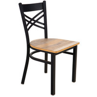 Lancaster Table & Seating Black Cross Back Chair with Driftwood Seat