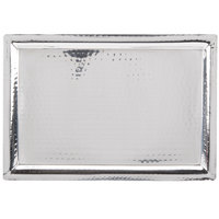 American Metalcraft HMRT1611 16 3/8 inch x 11 1/4 inch Rectangle Hammered Stainless Steel Tray